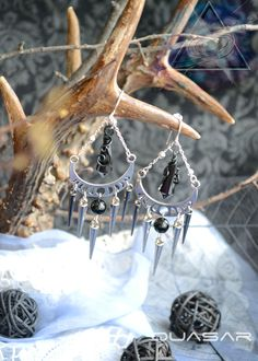 by Quasarshop on EtsyJewelry  Earrings  gothic earrings  rock jewelry  moon  moon jewelry  plack moon  nu goth  goth jewelry spikes earrings  black jewelry  nu goth jewelry  gothic style  black crystal  handamde
