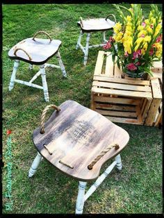 Repurposed chars into stools with rope handles... what a cool idea!