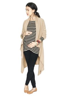 Cozy Maternity Look - Camel & Black Striped Top from @HATCH Collection #projectnursery #maternity #maternitystyle