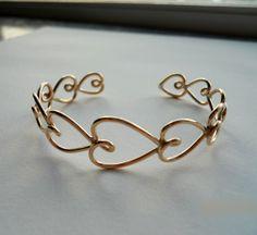Punk Jewelry, Metal Jewelry, Jewellery, Gold Filled Jewelry, Wire Wrapped Jewelry, Handmade Wire Jewelry, Valentine Heart, Valentines, Heart Bracelet