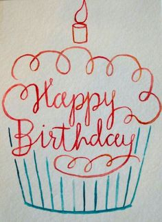 Happy Birthday Watercolor Cupcake Card by ShelbyNickelDesigns - . - Happy Birthday Watercolor Cupcake Card by ShelbyNickelDesigns – - Happy Birthday Doodles, Happy Birthday Wishes, Diy Birthday, Birthday Greetings, Happy Birthday Drawings, Happy Birthday Chalkboard, Happy Birthday Cards Handmade, Happy Doodles, Creative Birthday Cards