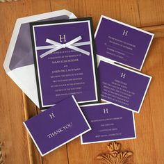 Wedding Invitation Set with Bow  Ribbon by TheAmericanWedding