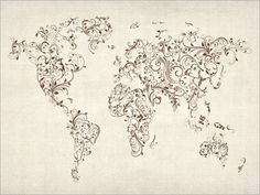 Map of the World Map Floral Swirls, Art Print on Etsy