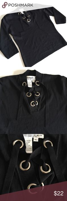 """❤ Tie Front / Lace-Up Sweater H2 Joseph A. Brand // black Tie-Front / Lace-up Stretchy 3/4 sleeve sweater/thick Blouse // Sz XL (fits petite best) // 65% viscose, 35% nylon, which makes it very Stretchy! // silver metal ring accents // 18.5"""" armpits laid flat. Stretches to 28"""" // 20"""" sleeves // 21.5"""" length // this type of material has NO pilling and NO fading. // non-smoking home // not my size. Can't model. // Same Day/Next Day Shipping!! // 3.24.22.001 10.7o // Bundle Discounts Joseph A…"""
