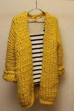 Knitting Patterns Cardigan Yellow cardigan of merino wool summer saleArtículos similares a Yellow knitted cardigan of merino wool en Etsy Knit Cardigan Pattern, Chunky Knit Cardigan, Crochet Jacket, Chunky Wool, Knit Jacket, Knit Crochet, Cardigan En Maille, Yellow Cardigan, Look Fashion