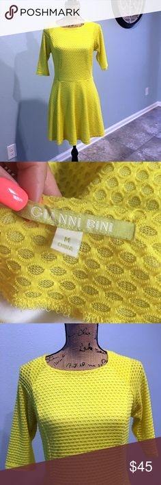 Gianni Bini eyelet chartreuse skater dress medium Gianni Bini chartreuse eyelet skater dress | size medium | side zipper | fully lined | absolutely beautiful for spring and summer | they go perfectly with the Aldo slingbacks also listed in my closet (size 7.5) Gianni Bini Dresses