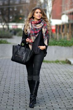 All Black Outfit With Celine Bag, Black Boots And Multi Colored Scarf