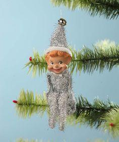 Mini Retro Elf Ornament Silver | Bethany Lowe Christmas - The Holiday Barn