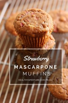 Change up your morning breakfast routine with a new muffin flavor - Strawberry Mascarpone Muffins. Sounds super rich, but are actually healthy! Recipe by @danielleomar on @healthyaperture