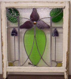 "Edwardian English Leaded Stained Glass Sash Window Floral 20 75"" x 21 75"" | eBay"