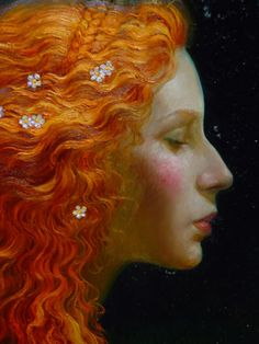 Mermaid [Original Title Unknown] By Victor Nizovtsev Victor Nizovtsev, Oeuvre D'art, Painting & Drawing, Hair Painting, Art Inspo, Redheads, Fantasy Art, Illustration Art, Fine Art