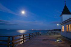 Seebad Ahlbeck Seebrücke Nacht Mond, Baltic Sea bridge Moon Night