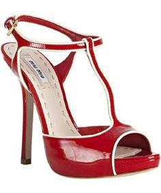 red patent leather miu miu t-strap pumps heels