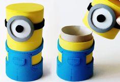 DIY crafts: MINIONS BOX from cardboard tube - Innova Crafts. DIY crafts: Minions box from cardboard tube - Innova Crafts How to make Minions box from cardboard tube. Cardboard Box Houses, Cardboard Tubes, Cardboard Crafts, Toilet Paper Roll Diy, Diy For Kids, Crafts For Kids, Fun Crafts, Diy And Crafts, Minion Craft