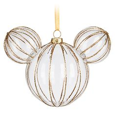 Make happy holiday memories to last for a lifetime with this Mickey Mouse icon clear glass ornament framed in glittering golden ribs. Clear Glass Ornaments, Glitter Ornaments, Disney Ornaments, Christmas Ornaments, Christmas Crafts, Christmas Ideas, Ornaments Ideas, Christmas Stuff, Christmas Recipes