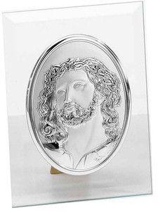 Srebrny obraz Jezus Chrystus w ciernistej koronie na szkle, stanowi doskonały prezent na wiele okazji. #komunia #chrzest #dla_babci