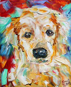 Pet Portraits Original Oil Painting Commission Custom - Dog Cat Horse by Karen Tarlton MODERN IMPRESSIONISM palette knife fine art