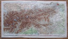 Die Ostalpen Alpen - 51 x 29 cm alte Karte aus 1913 old map