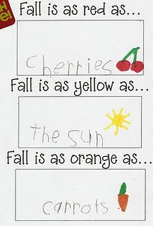 KINDERGARTEN--Mizzzz Boocanan Fall Writing Fall leaves are as red as. Fall leaves are as yellow as. Fall leaves are as orange as. Fall leaves are as brown as. 1st Grade Writing, Teaching Writing, Writing Activities, Writing Ideas, Recount Writing, Teaching Ideas, Grammar Activities, Teaching Colors, Start Writing