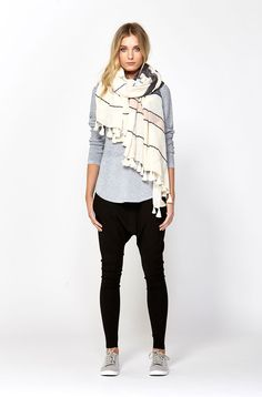 The best of what's new! Shop the Cotton Stripe Scarf in stores and online now www.decjuba.com.au @Decjuba