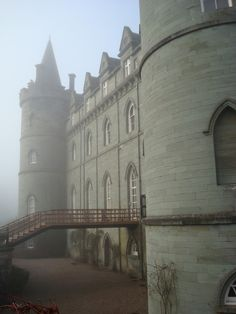 """Inverary Castle, Scotland, was the seat of Chief of Clan Campbell, Duke of Argyll. The original castle was built in the 1400's but the current structure was built in the 1700's. The interior of the castle is quite elaborate & includes a State Dining Room with the only surviving work of French painters Girard & Guinard... & the Armoury Hall displays weapons dating from 1740. It is believed to be haunted by the """"ghost of a harpist who was hanged in 1644 for peeping at the lady of the house."""""""