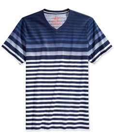 An ideal choice for a sunny day hanging out with friends, this V-neck T-shirt from American Rag enhances your casual look and comfort with a breezy classic fit, ombre styling and a fashionable stripe
