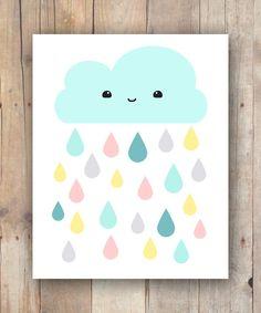 Kawaii Aqua Cloud And Colorful Raindrops Print