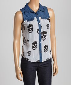 Another great find on #zulily! Light Blue & White Skull Button-Up Tank by Wall Flower #zulilyfinds