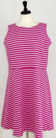Talbots Pink Stripe Sleeveless Dress Fit Flare 1X #Talbots #Sheath #Casual