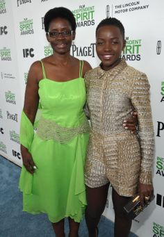 Dorothy Nyong'o and her daughter, Lupita Nyong'o, arrive at the 2014 Film Independent Spirit Awards, on Saturday, Mar. 1, 2014, in Santa Monica, Calif. (Photo by Jordan Strauss/Invision/AP)