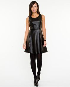 Le Château: Leather-like Fit & Flare Dress. Made in Canada.  WANT it!