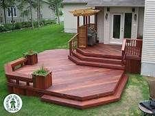 How is this one for a beautiful deck. This two level deck in Ottawa is a Tiger Deck hardwood. The stain really brings out the rich colour of this South Gazebo On Deck, Backyard Pergola, Outdoor Pergola, Pergola Kits, Pergola Ideas, Patio Deck Designs, Patio Design, Porches, Two Level Deck