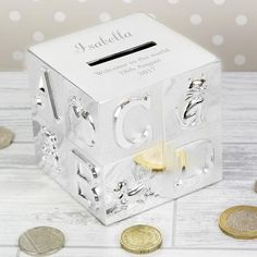 Our Personalised Money Box with a Cross is a unique and thoughtful gift that is sure to be treasured. The money box can be engraved with 3 lines of text, with u Personalised Money Box, Personalized Birthday Gifts, Christening Gifts, Baptism Gifts, Birthday Gifts For Kids, Unusual Gifts, New Baby Gifts, Thoughtful Gifts, New Baby Products