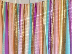 Unicorn rainbow pastels with sparkling gold sequin mixed various blends of neutral lace. Torn and rag tied - edges are meant to fray.  *does not include celebrate banner (purchased at Target)  Perfect for accenting cake smash photo prop, cake table, nursery, doorways, ceremony stage, drape between trees or use as your photo booth background. Other garland uses: Special Events - bridal shower, baby shower, birthday parties, graduations, retirement parties, engagement photos. CUSTOMIZE…