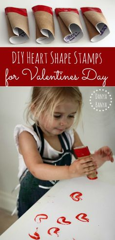 How to make cardboard tube heart shaped stamps for toddlers. Perfect process art idea for the lead up to Valentine's Day. ~ Danya Banya