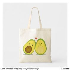 valentinesday present Cute avocado couple tote bag - Valentines For Kids, Valentine Day Gifts, Cute Avocado, Design Your Own, Kawaii Couple, Canvas Tote Bags, Gifts For Dad, Pink And Green, Cotton Canvas