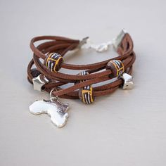 Mens boho wrap bracelet Africa charm beaded bracelet for him