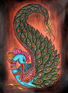 If you are already intrigued by this form of art and wish to dig deeper into it, then there is good news for you- here we have some examples of Brilliant Traditional Indian Art Paintings for you. Gond Painting, Kerala Mural Painting, Peacock Painting, Tanjore Painting, Peacock Art, Indian Art Paintings, Fabric Painting, Diwali Painting, Indian Peacock