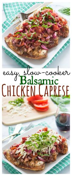 Easy, Slow-Cooker Balsamic Chicken Caprese // Well-Plated