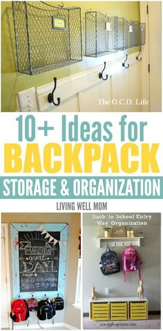 From decorated to minimalist theres many creative solutions for backpack storage and organization you wont want to miss as your kids head back to school. Heres 10 ideas to inspire you! Back To School Organization, Laundry Room Organization, Storage Organization, Laundry Storage, Kids Backpack Organization, Kids Backpack Storage, Diy Backpack, Backpack Station, Family Command Center