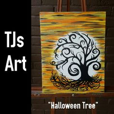 Halloween Tree acrylic canvas painting by FunnyCheeksTJ Dallas Artist and Face Painter