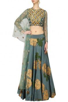 Bhumika Sharma Teal Embroidered Lehenga Set #happyshopping #shopnow #ppus