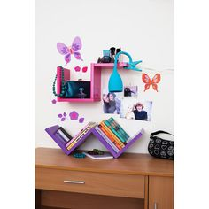 """Hot pink """"W"""" shelf for Rory's room"""