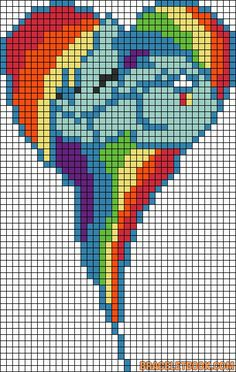 MLP Rainbow Dash heart perler bead pattern