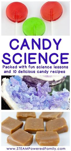 Candy Science has the unique ability to provide hands on learning of complex chemistry concepts, with a delicious result that has kids loving science! #CandyScience #CandyMaking #CandyRecipes #KitchenScience