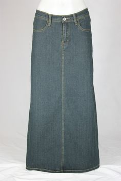 Womens Modest Denim Skirt with Long Ruffle Detail This is my ...