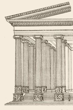 Details of Temple of Artemis with Ionic columns that were 60 feet tall and in total 127 of them. It took 120 years to build.