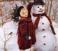 Winter Friends ~ by Sandra Kuck - Little girl putting hat on snowman Christmas Scenes, Vintage Christmas Cards, Christmas Pictures, Christmas Snowman, Christmas And New Year, All Things Christmas, Winter Christmas, Christmas Holidays, Christmas Crafts