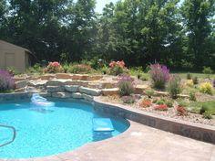 piscine enterrée et jardin sec en fleurs et arbustes fleuris