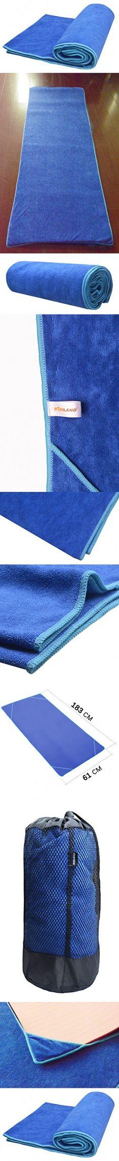 "Sunland Yoga Towel - (24""x72"") - Microfiber Hot Yoga Towel- Perfect for Bikram Yoga Towel, Ashtanga Yoga Towel, Hot Yoga Towel - Super Absorbant, Non Slip, Light, Quick-dry, Eco-friendly"
